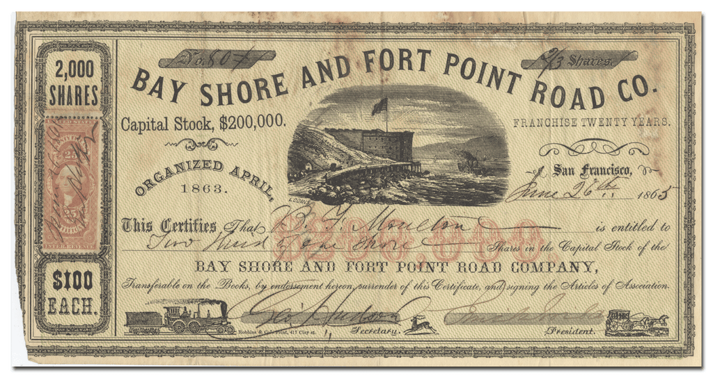 Bay Shore and Fort Point Road Co. Stock Certificate