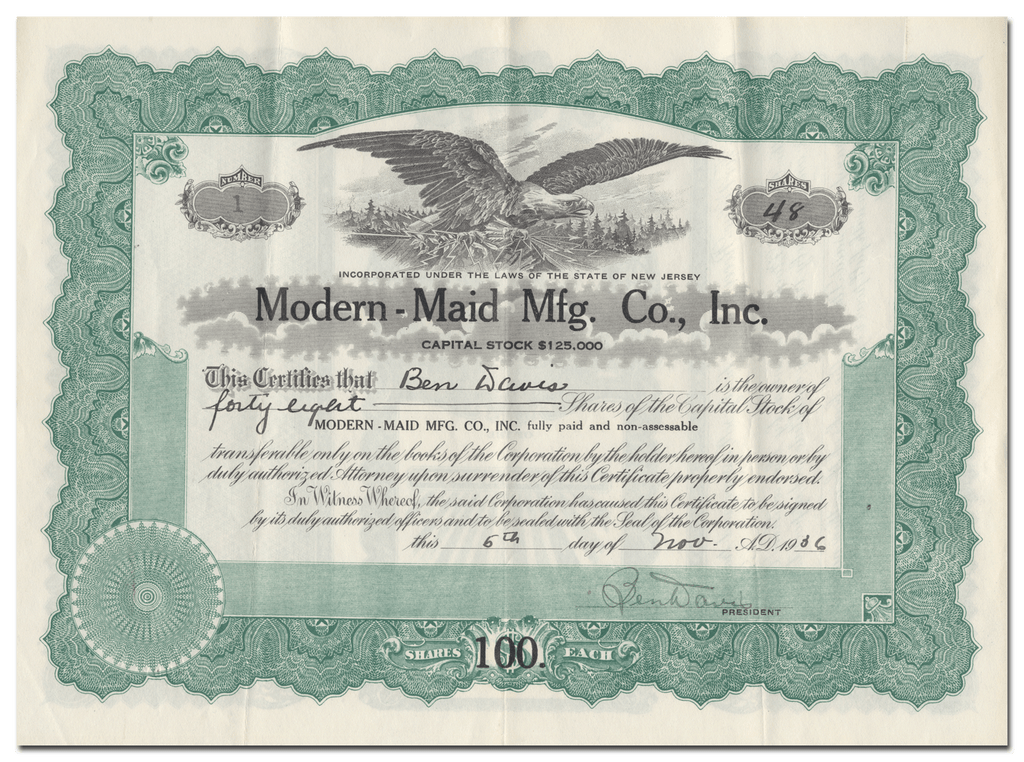 Modern-Maid Mfg. Co., Inc. Stock Certificate (Certificate #1)