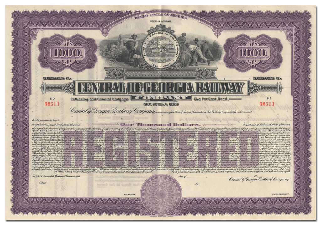 Central of Georgia Railway Company Bond Certificate