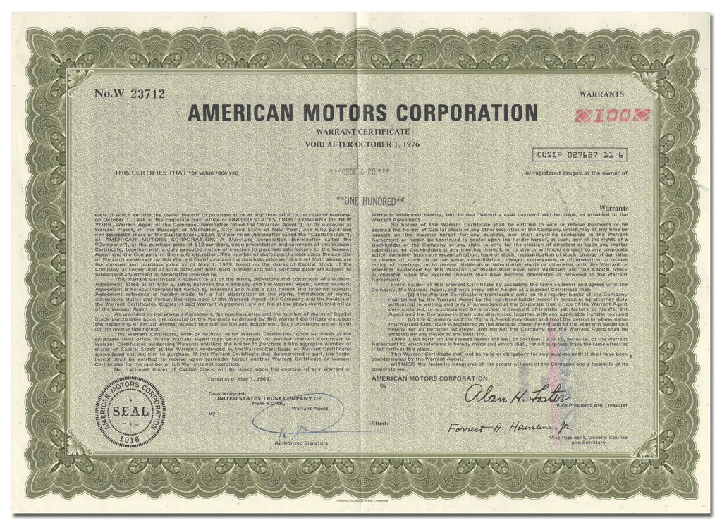 American Motors Corporation Stock Warrant