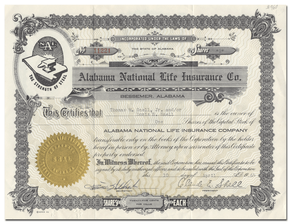 Alabama National Life Insurance Company Stock Certificate