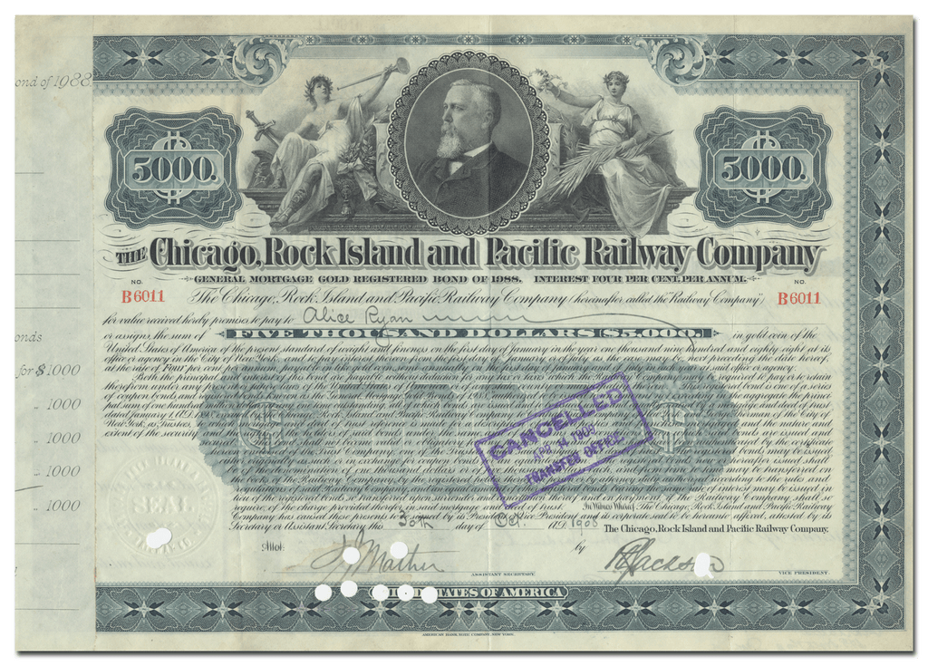 Chicago, Rock Island and Pacific Railway Company Bond Certificate