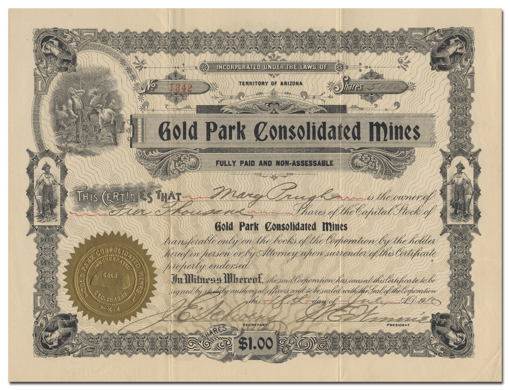 Gold Park Consolidated Mines Stock Certificate