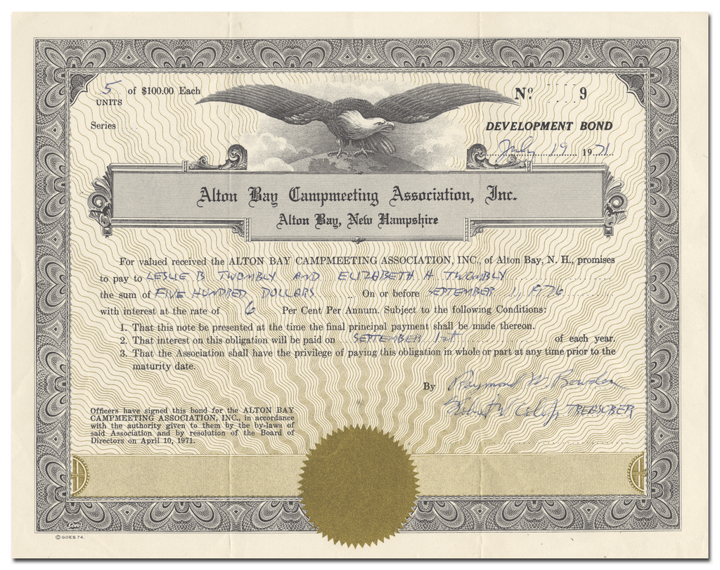 Alton Bay Campmeeting Association, Inc. Stock Certificate