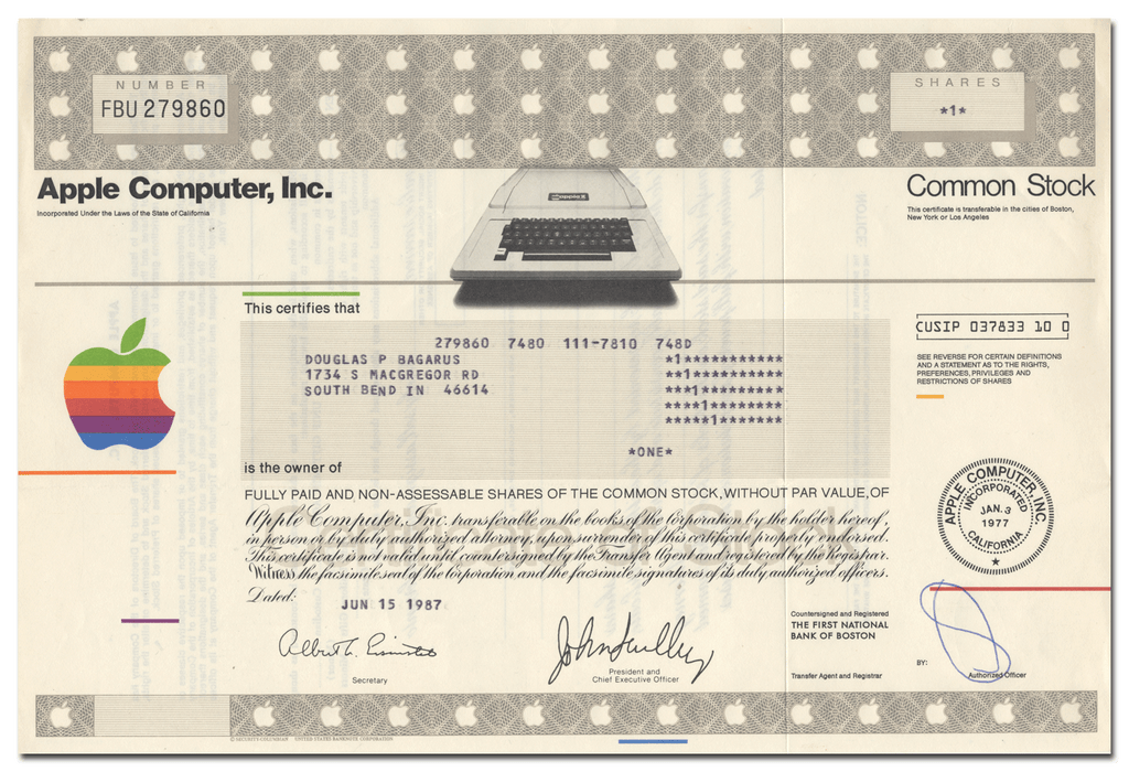 Apple Computer, Inc. Stock Certificate