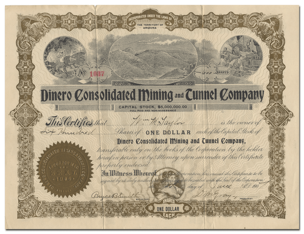 Dinero Consolidated Mining and Tunnel Company Stock Certificate