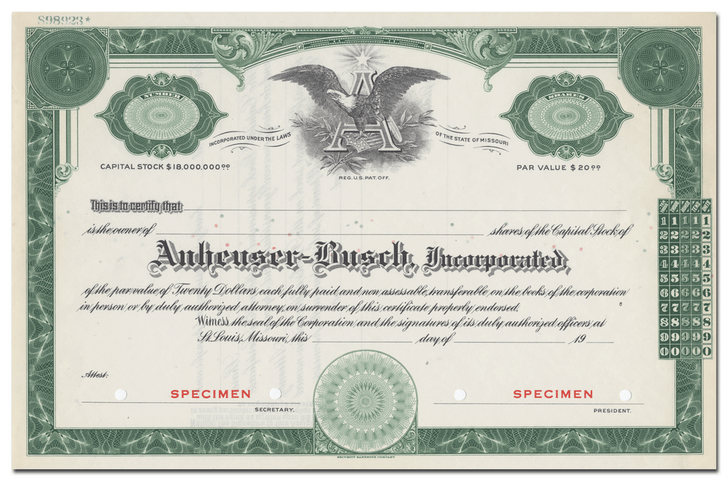 Anheuser-Busch, Incorporated Specimen Stock Certificate