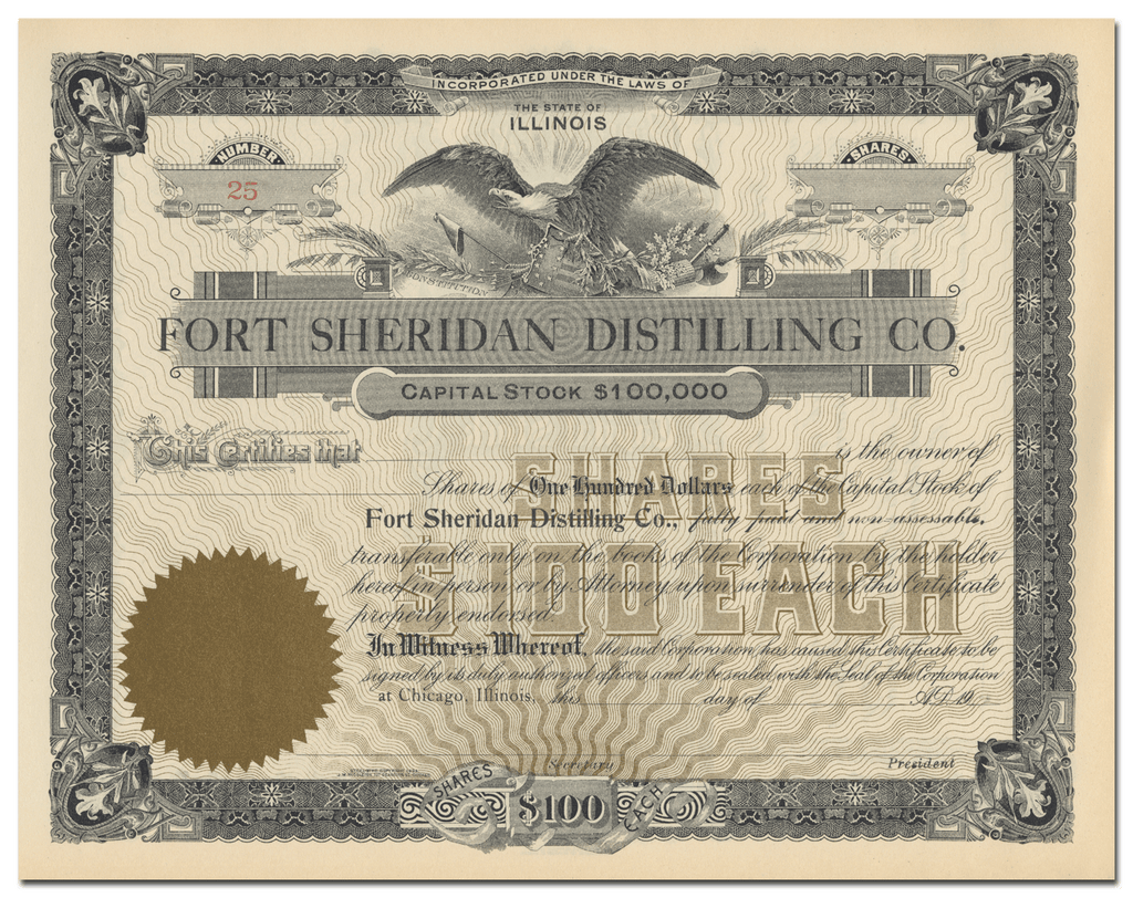 Fort Sheridan Distilling Co. Stock Certificate