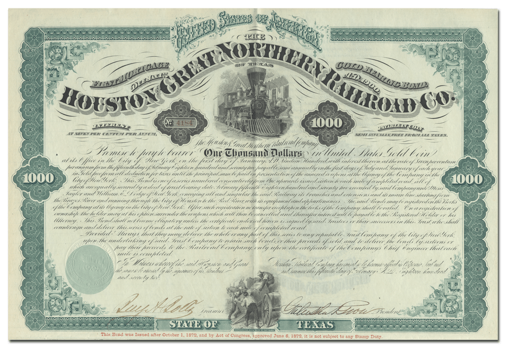 Houston and Great Northern Railroad Company Bond Certificate Signed by Galusha Grow