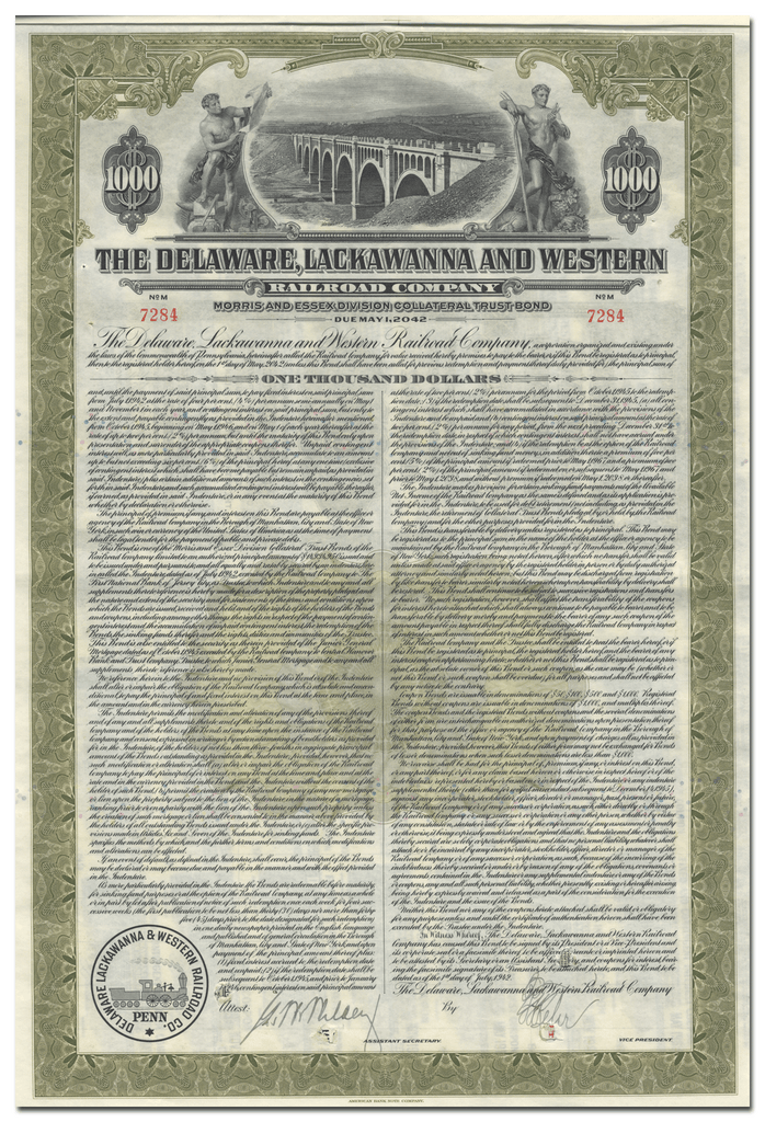 Delaware, Lackawanna and Western Railroad Company Bond Certificate