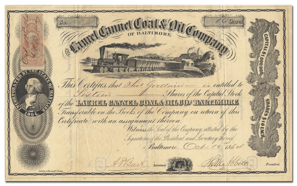 Laurel Cannel Coal & Oil Company of Baltimore Stock Certificate