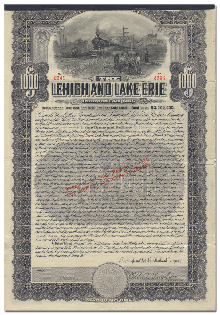 Lehigh and Lake Erie Railroad Company Bond Certificate