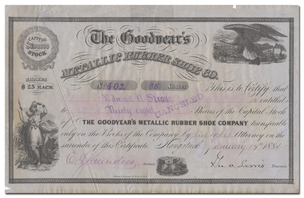 Goodyear's Metallic Rubber Shoe Company Stock Certificate