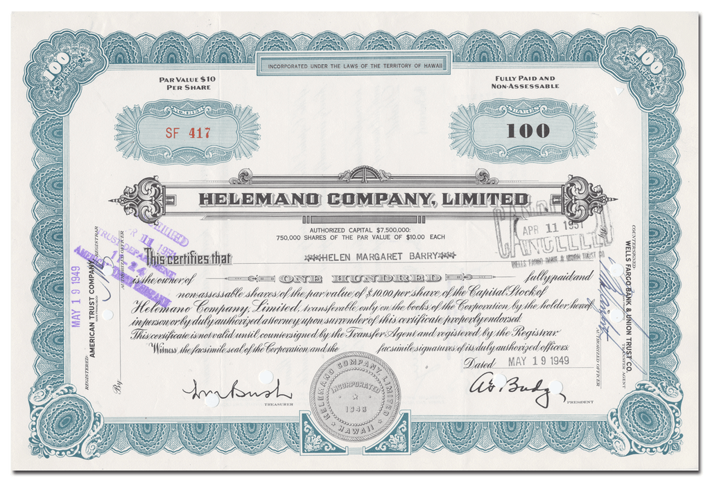 Helemano Company, LImited Stock Certificate