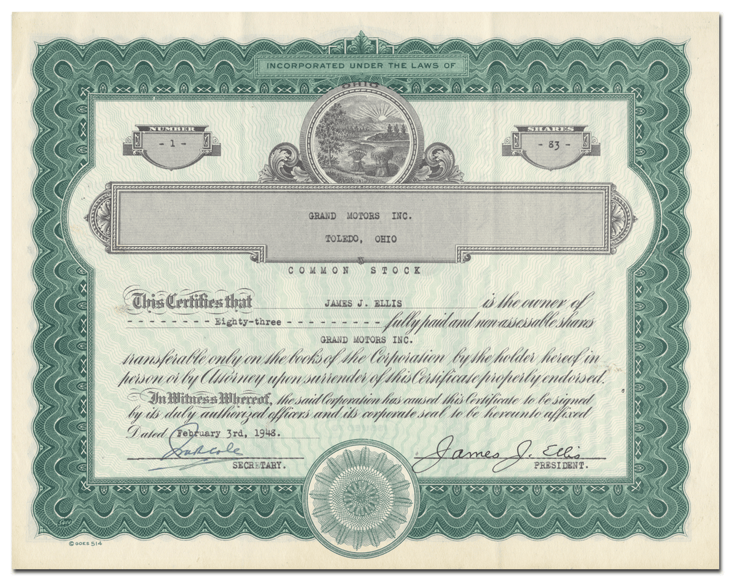Grand Motors Inc. Stock Certificate
