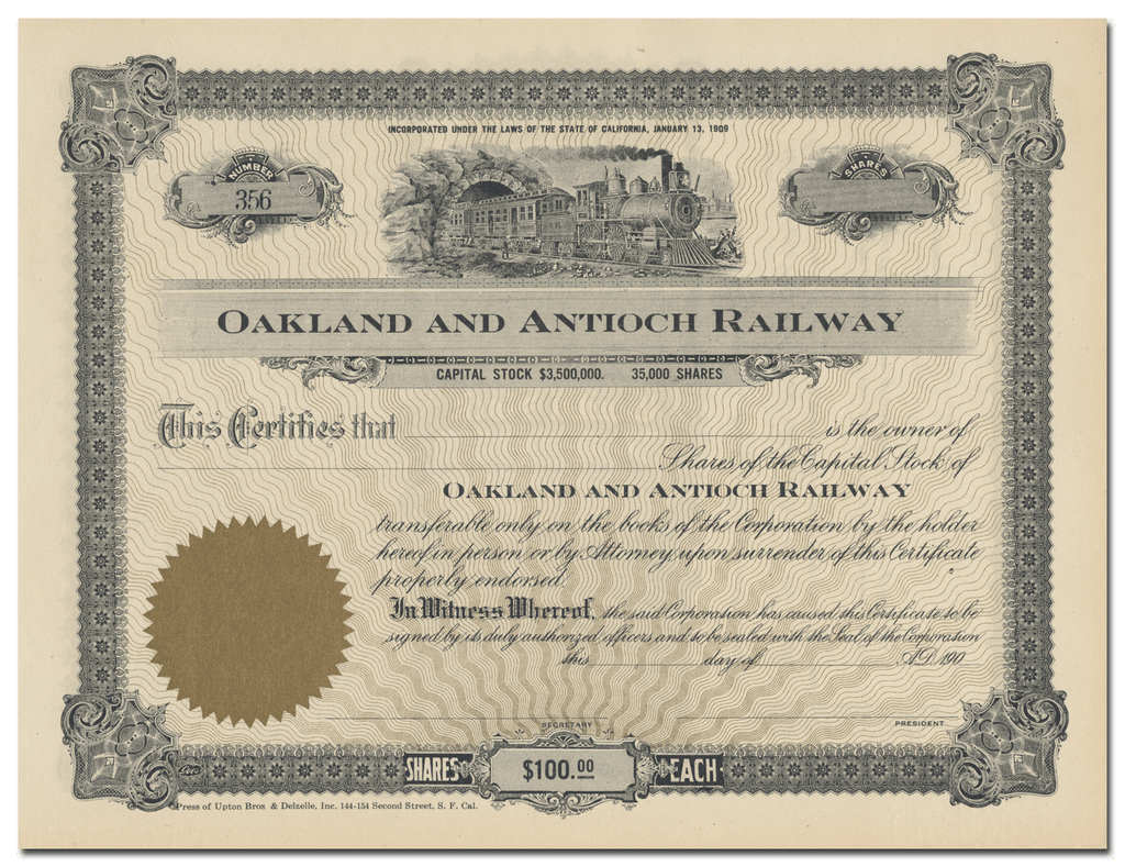 Oakland and Antioch Railway Stock Certificate
