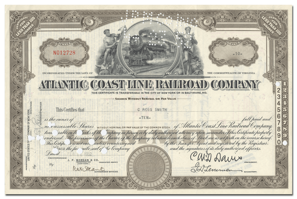 Atlantic Coast Line Railroad Company Stock Certificate