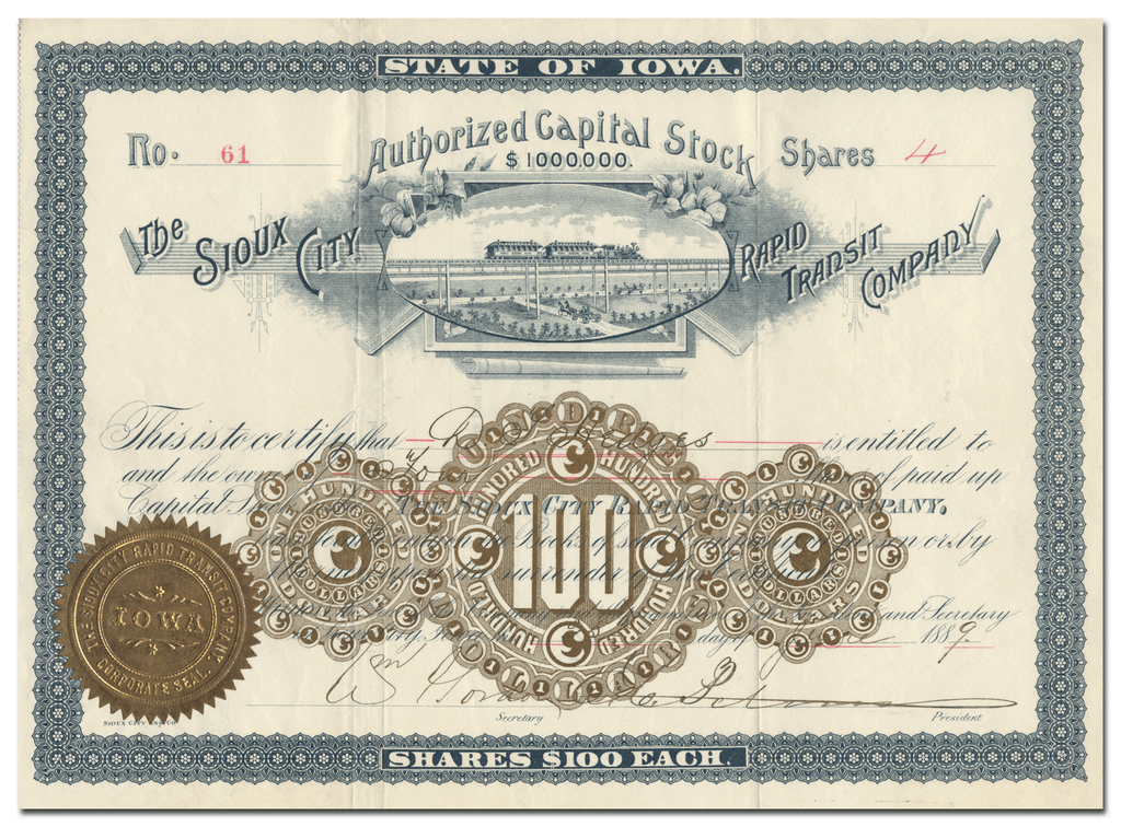 Sioux City  Rapid Transit Company Stock Certificate