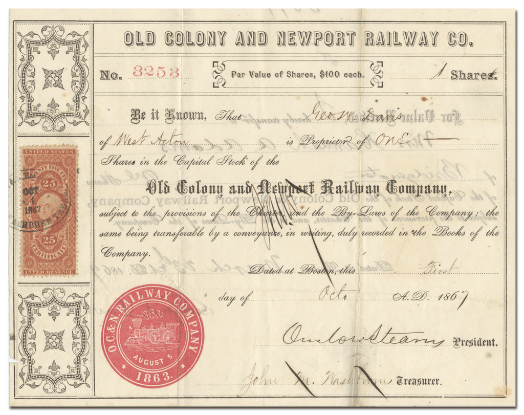 Old Colony and Newport Railway Company Stock Certificate