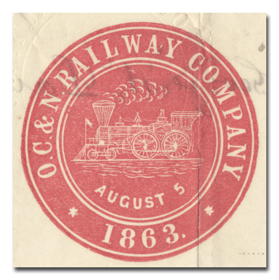 Old Colony and Newport Railway Company Stock Certificate (Company Seal)