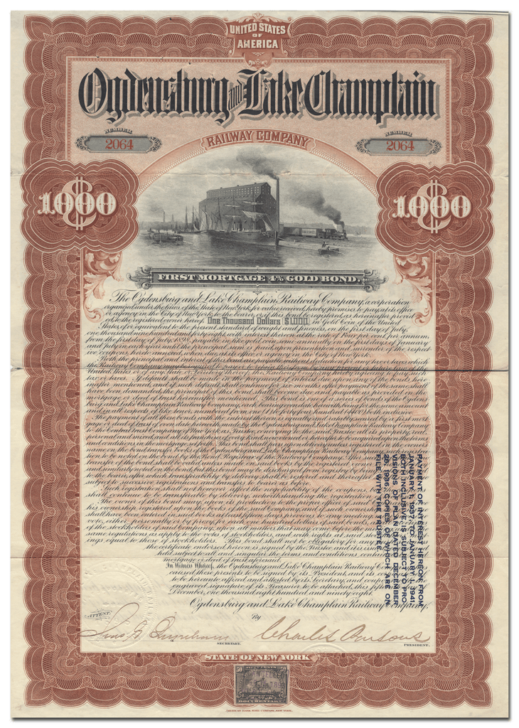 Ogdensburg and Lake Champlain Railway Company Bond Certificate