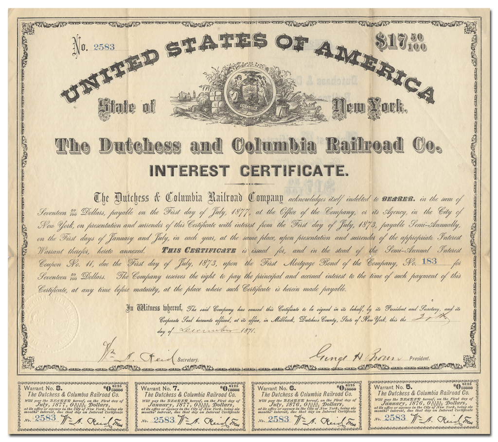 Dutchess and Columbia Railroad Company Interest Certificate