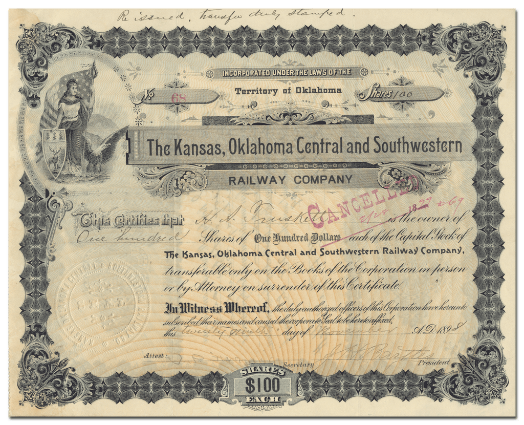 Kansas, Oklahoma Central and Southwestern Railway Company Stock Certificate