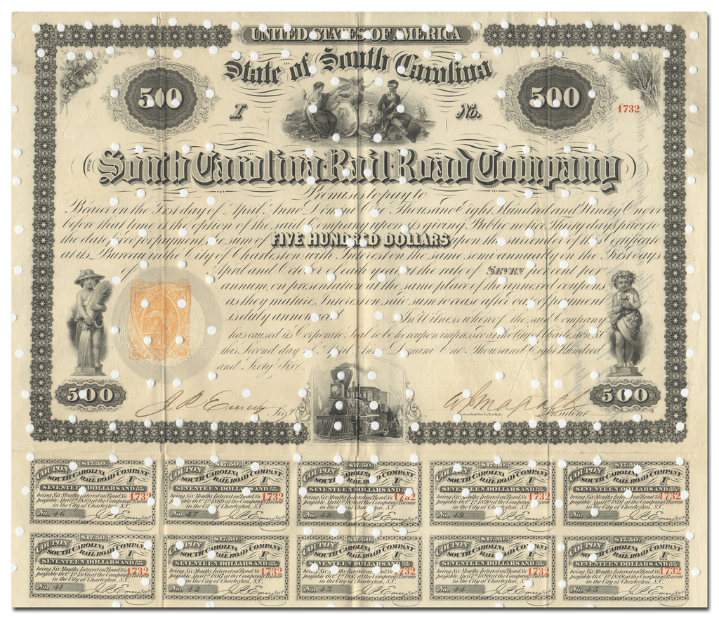 South Carolina Rail Road Company Bond Certificate