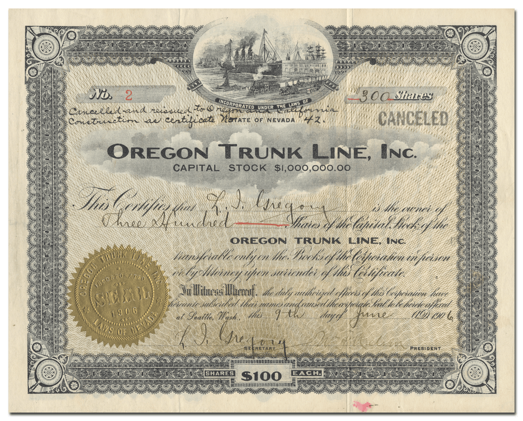 Oregon Trunk Line, Inc. Stock Certificate