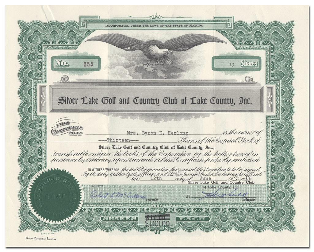 Silver Lake Golf and Country Club of Lake County, Inc. Stock Certificate