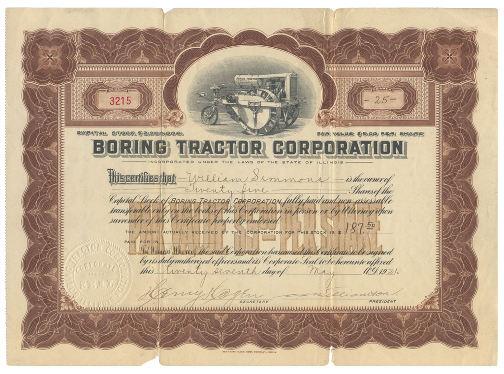 Boring Tractor Corporation Stock Certificate