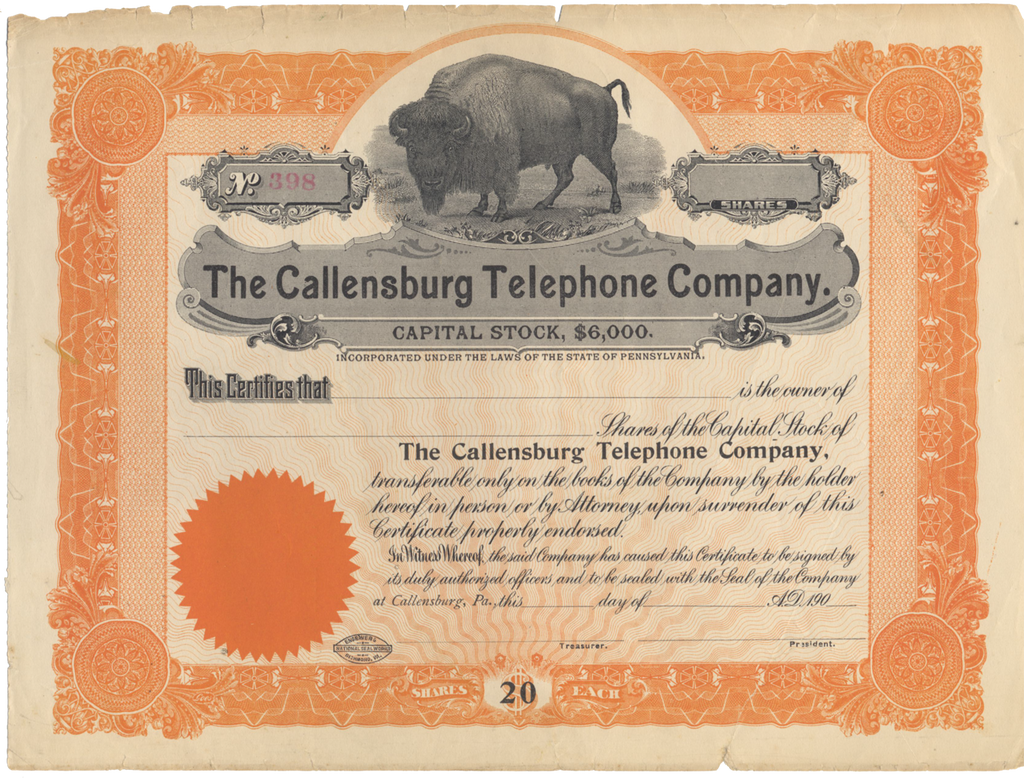 Callensburg Telephone Company Stock Certificate
