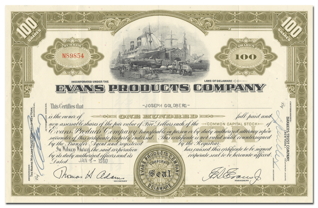 Evans Products Company Stock Certificate