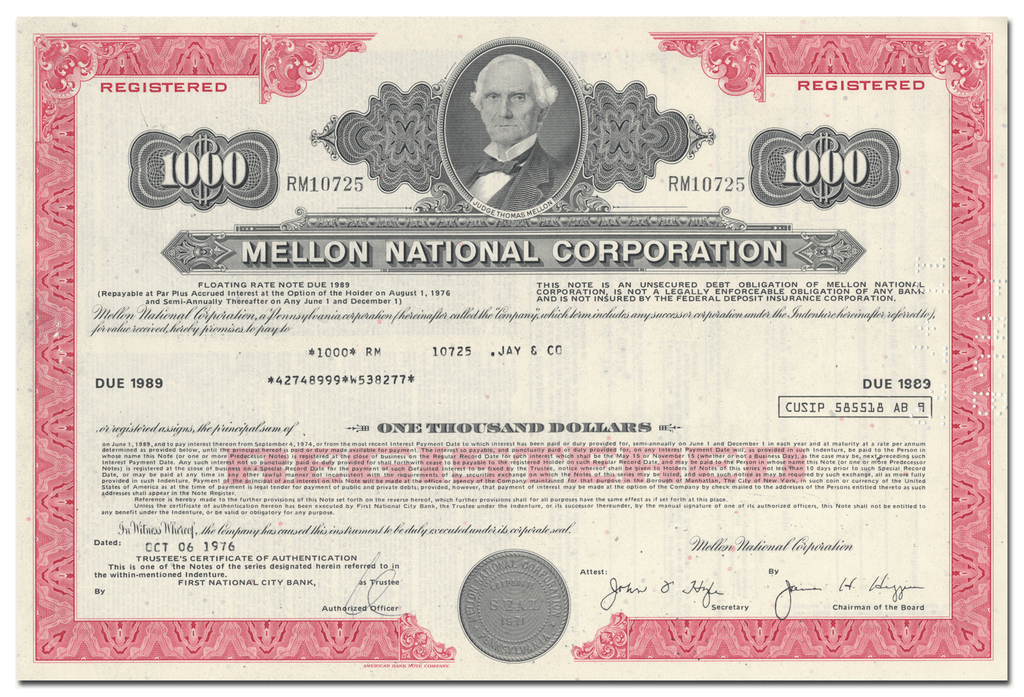 Mellon National Corporation Bond Certificate