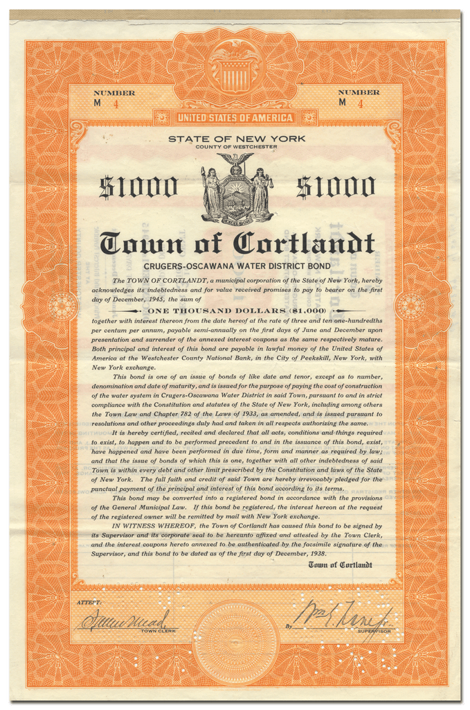 Town of Cortlandt, New York Bond Certificate