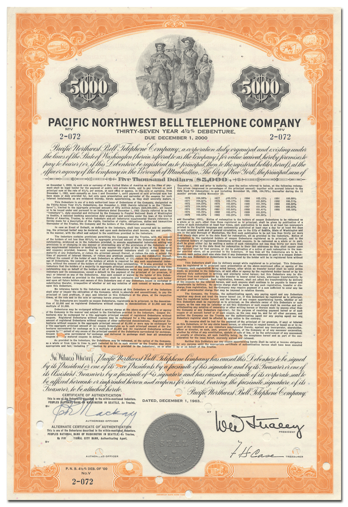 Pacific Northwest Bell Telephone Company Bond Certificate