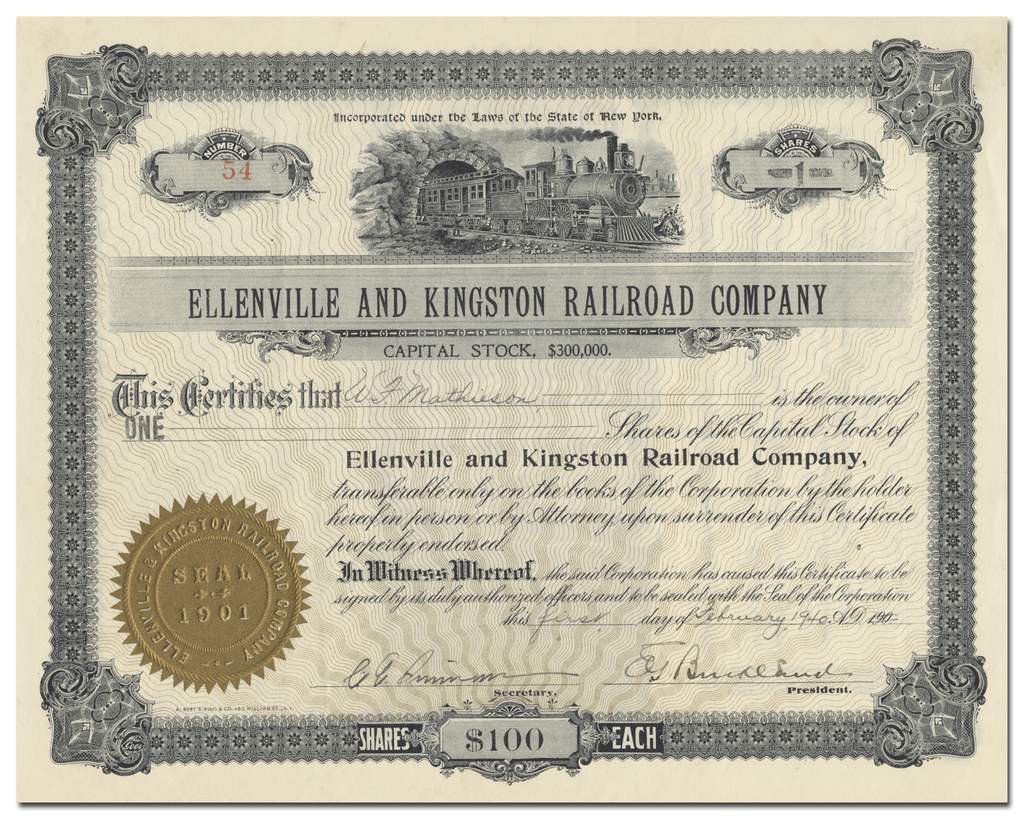 Ellenville and Kingston Railroad Company Stock Certificate