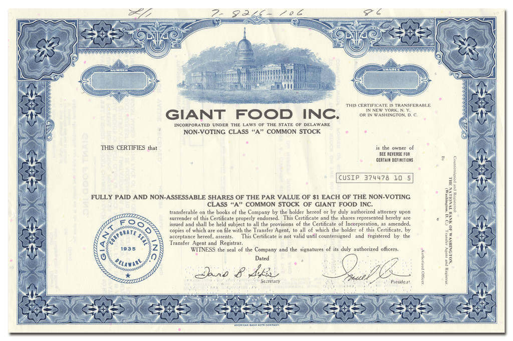 Giant Food Inc. Specimen Stock Certificate