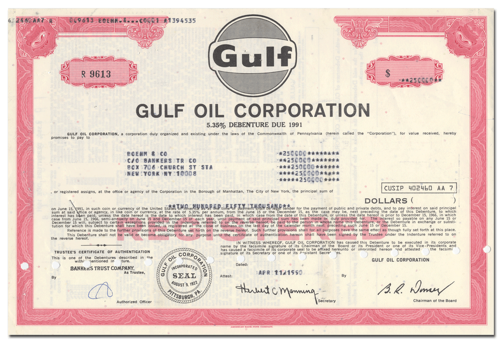 Gulf Oil Corporation Bond Certificate