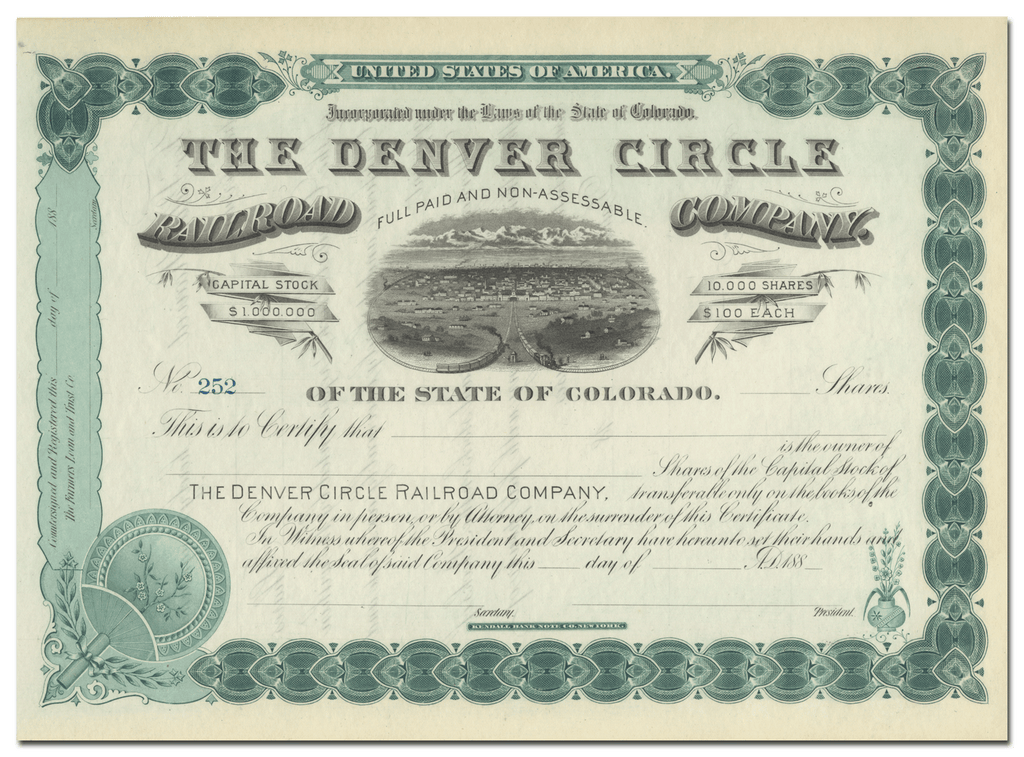 Denver Circle Railroad Company Stock Certificate