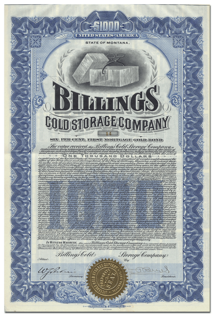 Billings Cold Storage Company Bond Certificate