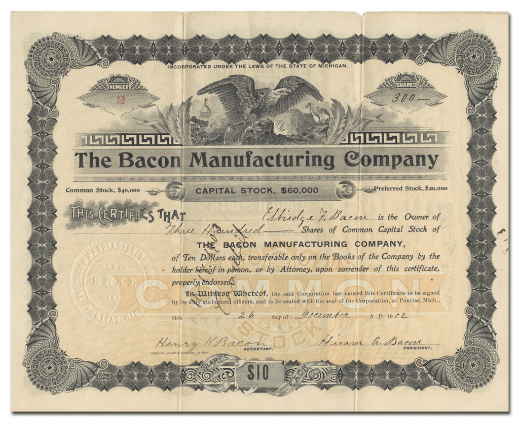 Bacon Manufacturing Company Stock Certificate (Certificate #1)