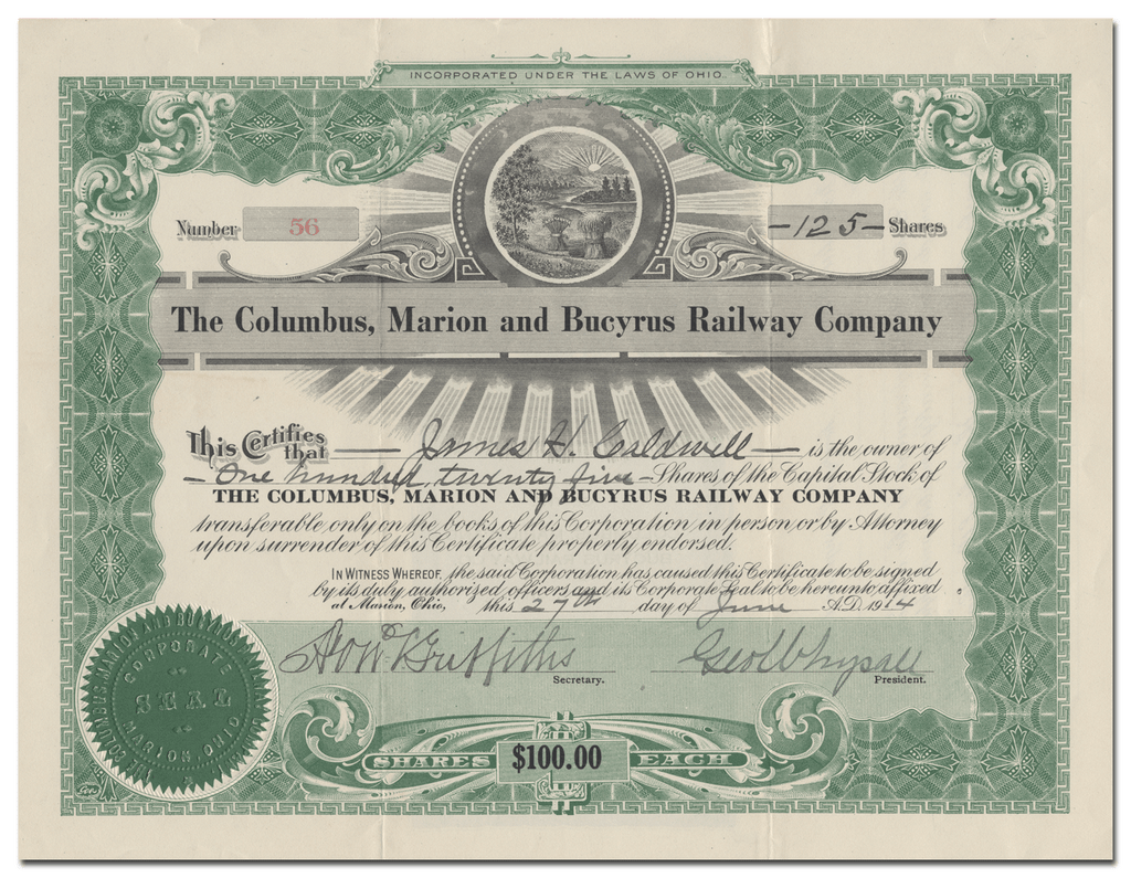 Columbus, Marion and Bucyrus Railway Company Stock Certificate