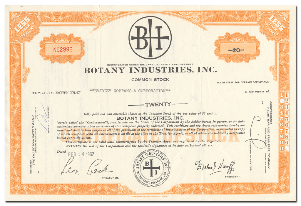 Botany Industries, Inc. Stock Certificate