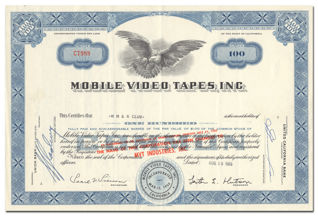 Mobile Video Tapes, Inc. Stock Certificate