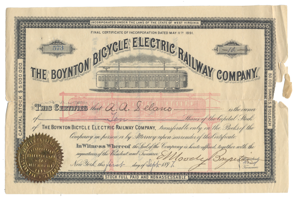 Boynton Bicycle Electric Railway Company Stock Certificate