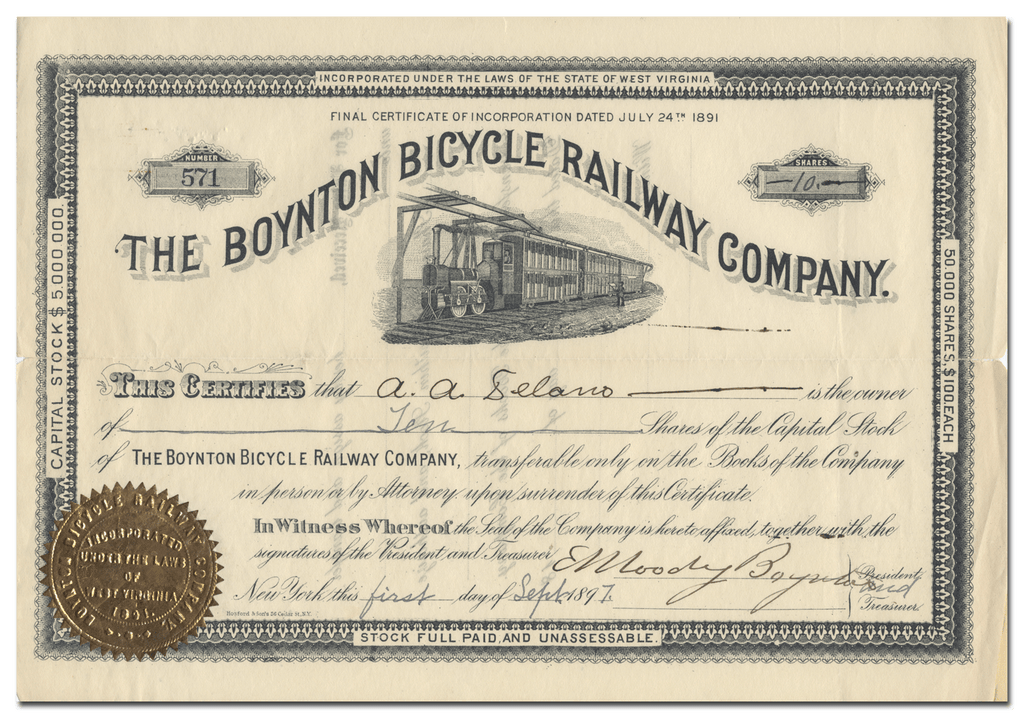 Boynton Bicycle Railway Company Stock Certificate