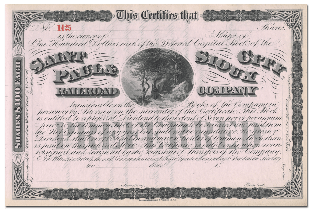 Saint Paul & Sioux City Railroad Company Stock Certificate