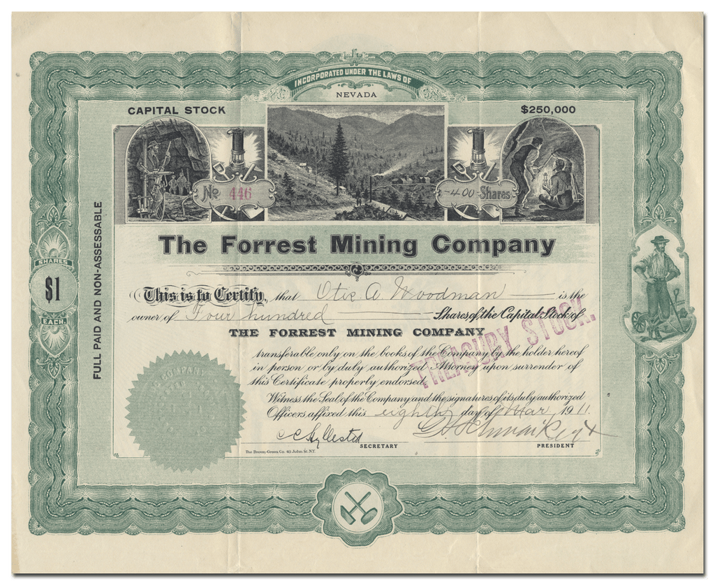 Forrest Mining Company Stock Certificate