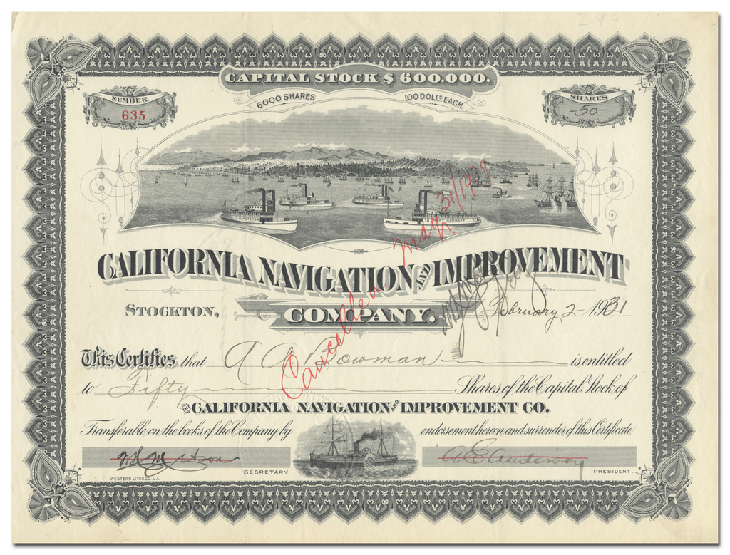 California Navigation and Improvement Company Stock Certificate